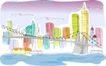儿童线条插画0034,儿童线条插画,人物,环城河 大桥 铁锁