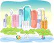 儿童线条插画0036,儿童线条插画,人物,帆船 护城河 绿树