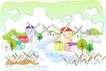 儿童线条插画0037,儿童线条插画,人物,风车 芦苇 乡间小河