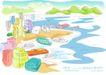 儿童线条插画0038,儿童线条插画,人物,临湖城市 码头 船舶