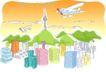 儿童线条插画0040,儿童线条插画,人物,群山 飞机 信号塔