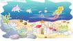 儿童线条插画0041,儿童线条插画,人物,海底 城堡 美人鱼