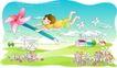 儿童线条插画0045,儿童线条插画,人物,手握 风车 飞翔