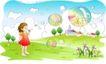 儿童线条插画0046,儿童线条插画,人物,天空 悬浮 透明球