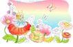儿童线条插画0047,儿童线条插画,人物,花仙子 蝴蝶 飞舞