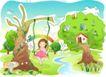 儿童线条插画0049,儿童线条插画,人物,森林 公园 荡秋千