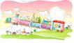 儿童线条插画0050,儿童线条插画,人物,卡通 火车 上天
