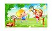 儿童运动会0042,儿童运动会,人物,网球 双人 拍打