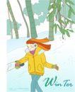 冬季小女孩0002,冬季小女孩,人物,竹林 雪景 踏雪