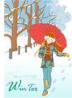 冬季小女孩0004,冬季小女孩,人物,打伞 漫步 雪原