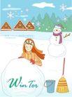 冬季小女孩0006,冬季小女孩,人物,玩雪 雪人 堆积