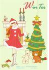 冬季小女孩0007,冬季小女孩,人物,室内 圣诞树 礼物