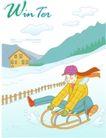 冬季小女孩0008,冬季小女孩,人物,滑雪 冲下 山坡