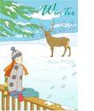 冬季小女孩0009,冬季小女孩,人物,梅花鹿 坐靠 栅栏