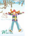 冬季小女孩0010,冬季小女孩,人物,白兔 滑下 雪坡
