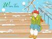 冬季小女孩0014,冬季小女孩,人物,台阶 坐着 棉鞋