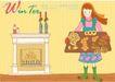 冬季小女孩0015,冬季小女孩,人物,节日 围裙 壁炉
