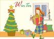 冬季小女孩0017,冬季小女孩,人物,圣诞树 礼物 枕头