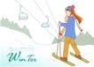 冬季小女孩0019,冬季小女孩,人物,雪橇 电线 缆车
