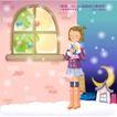 冬日恋人0032,冬日恋人,人物,弯弯的月亮 下雪 雪中女孩