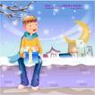 冬日恋人0033,冬日恋人,人物,光秃的枝条 礼物 坐在雪地的男孩