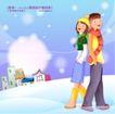 冬日恋人0034,冬日恋人,人物,背靠背恋人 雪地 太阳