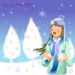 冬日恋人0035,冬日恋人,人物,蓝色围巾女孩  雪树 银装素裹的世界