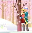 冬日恋人0036,冬日恋人,人物,树林 小白兔 站在女孩身后的男孩