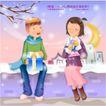 冬日恋人0037,冬日恋人,人物,交换礼物 坐在雪地上的情侣 浪漫