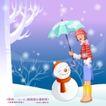 冬日恋人0040,冬日恋人,人物,红围巾 小雪人 撑伞的女孩