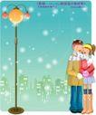 冬日恋人0048,冬日恋人,人物,黄色 路灯下 拥抱