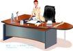 办公女郎0023,办公女郎,人物,办公桌 台灯 严肃