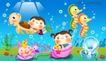 卡通儿童0009,卡通儿童,人物,海马 驾车 浮游