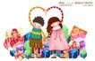 卡通儿童0014,卡通儿童,人物,牵手 礼品堆 情侣