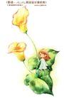 卡通儿童女孩与花0002,卡通儿童女孩与花,人物,康乃馨 绿叶 幼女