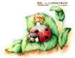 卡通儿童女孩与花0021,卡通儿童女孩与花,人物,绿色 创意 可爱