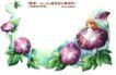 卡通儿童女孩与花0024,卡通儿童女孩与花,人物,牵牛花 藤蔓 融合