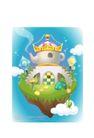 卡通风景0002,卡通风景,人物,天庭 奇堡 皇冠