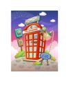 卡通风景0010,卡通风景,人物,红色 电话厅 郊外