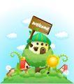 卡通风景0012,卡通风景,人物,卡通世界 欢迎标识 绿树笼罩 云朵漂浮 小房子