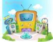卡通风景0013,卡通风景,人物,电视机 拟人化 天线 蓝天