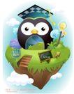 卡通风景0019,卡通风景,人物,博士帽 鸟儿