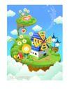 卡通风景0023,卡通风景,人物,城堡 风车 房屋