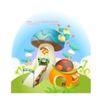卡通风景0029,卡通风景,人物,蘑菇 艳丽 色彩