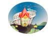 卡通风景0036,卡通风景,人物,满天的星星 一排路灯 城堡