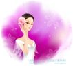 古典美女0011,古典美女,人物,古典美人 插朵花 纤瘦身姿 连衣裙 梦幻色调