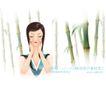 古典美女0012,古典美女,人物,竹林 优雅女子 闭目 手捂住脸 冥想