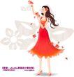 古典美女0014,古典美女,人物,红色连衣裙 飘逸头发 高跟鞋 花瓣飞舞 细腿