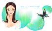古典美女0023,古典美女,人物,修饰 蝴蝶 飞舞