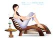 古典美女0032,古典美女,人物,一支香 木躺椅 休闲女子